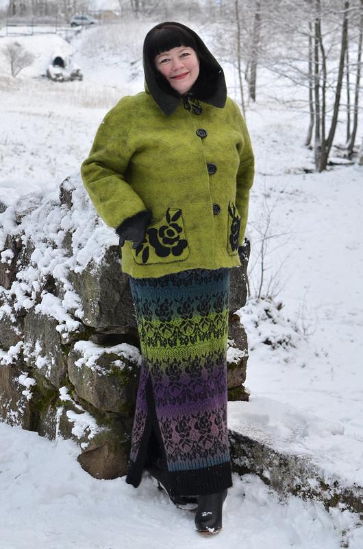Вязано-валяная жаккардовая  юбочка от Надежда Шадрина