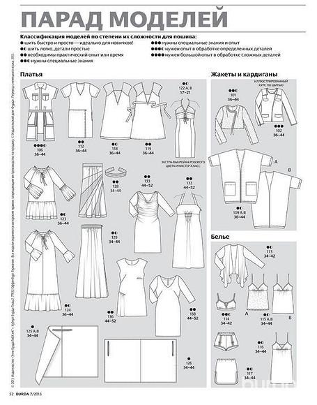 Все технические рисунки моделей изжурнала ВURDA 07/2013