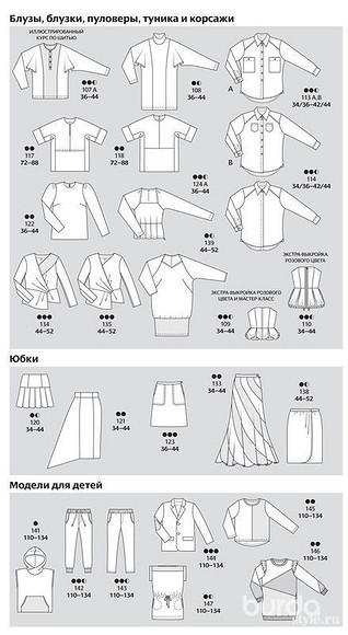 Все технические рисунки моделей изжурнала ВURDA 10/2013