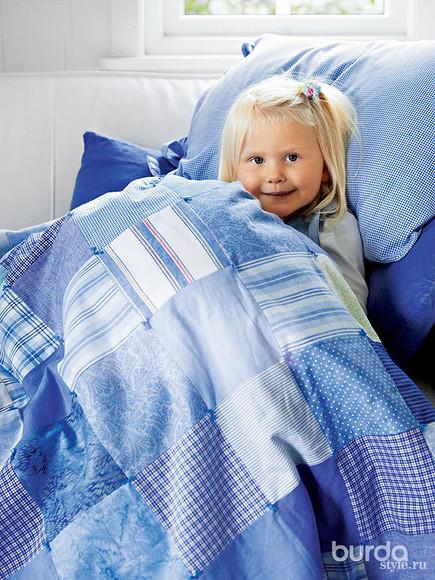Детское одеяло сузелковой стежкой
