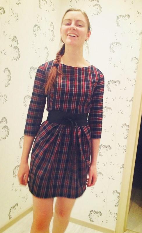 Теплое клетчатое платье от Forget-me-not