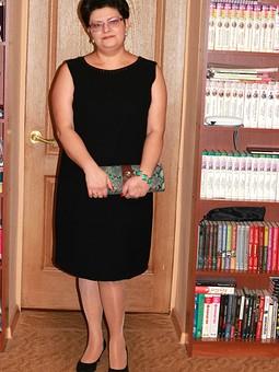 Работа с названием Черное платье+ меховой жакет+ ...
