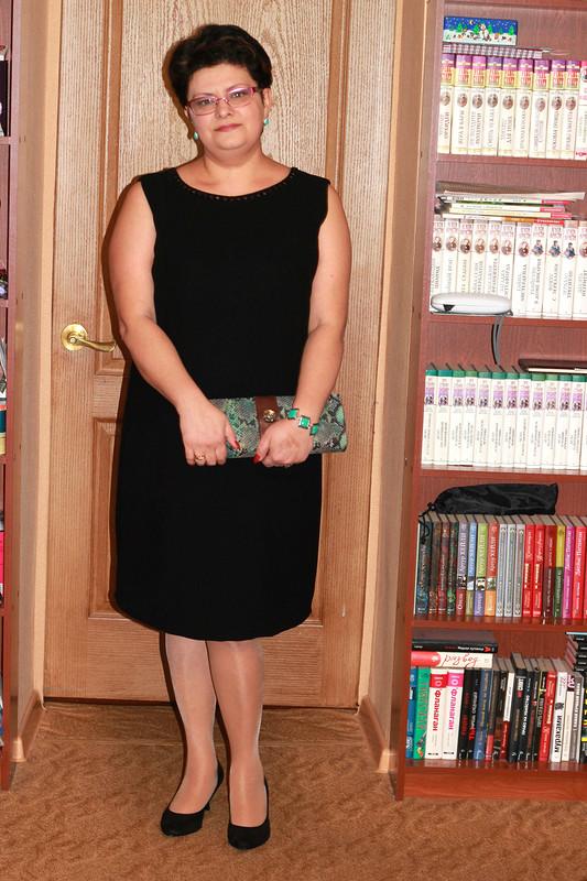 Черное платье+ меховой жакет+ ...