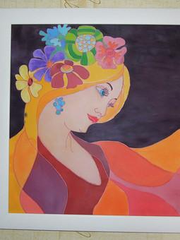 Работа с названием Роспись по ткани по мотивам картин Альфонса Мухи