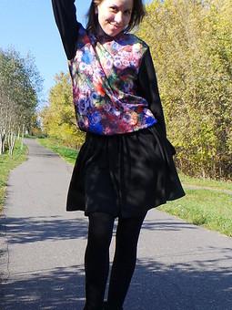 Работа с названием Цветочный пуловер+Юбка-солнце