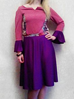 Работа с названием Блузка с воланами и юбка полусолнце