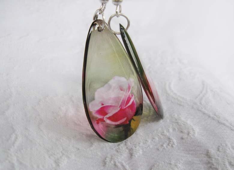 Роза Капля серьги прозрачные