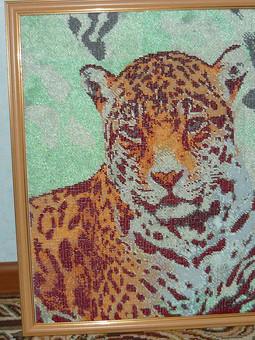 Работа с названием Вышивка бисером . Леопард.