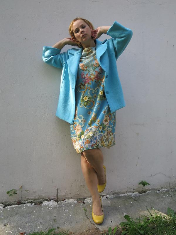 Жакет голубой лоден
