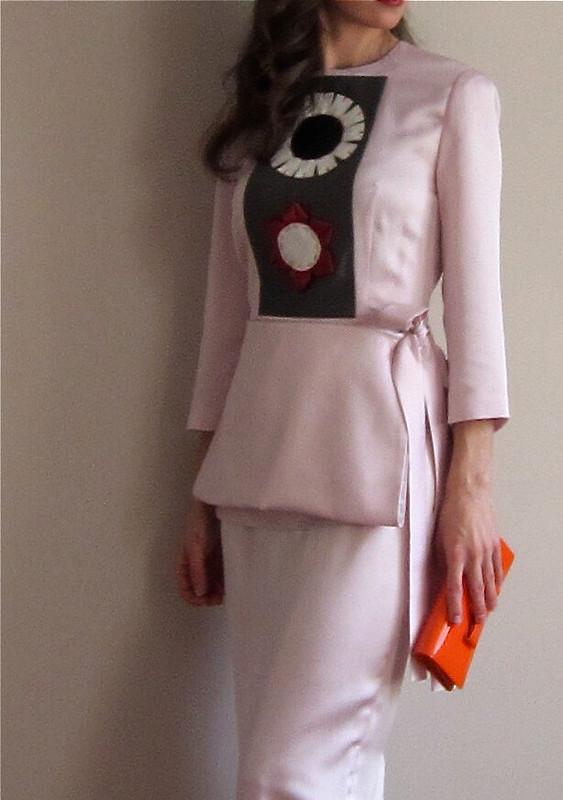 Розовое платье сяпонским мотивом весна 2013