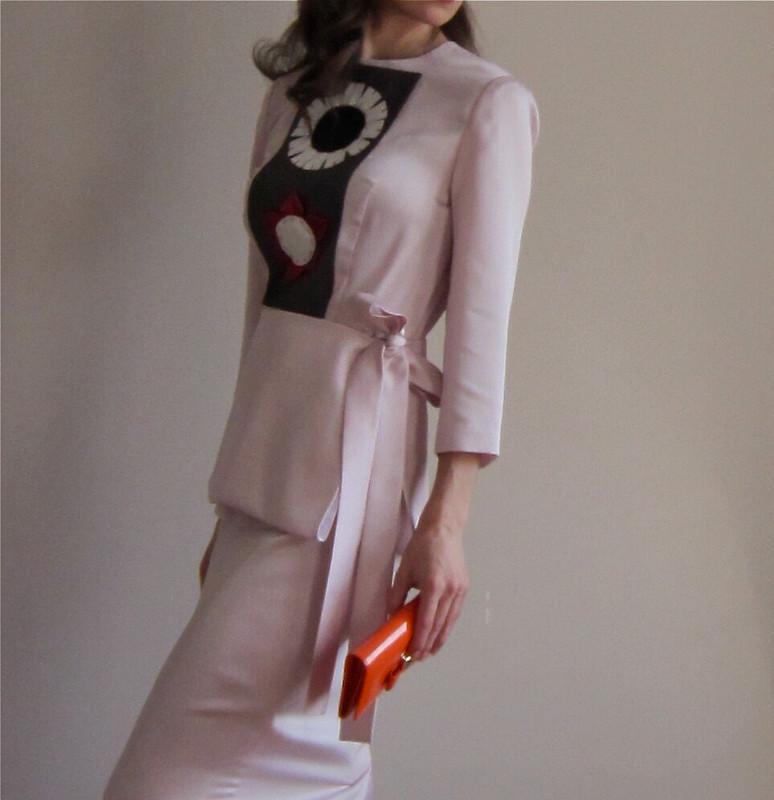 Розовое платье сяпонским мотивом весна 2013 от ОльгаС