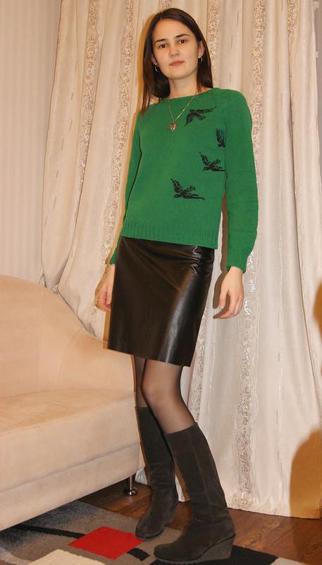 Пуловер икожаная юбка