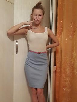Работа с названием Джинсовая юбка карандаш