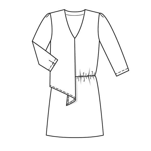 Шьем платье сV-образным вырезом иприсборенной талией