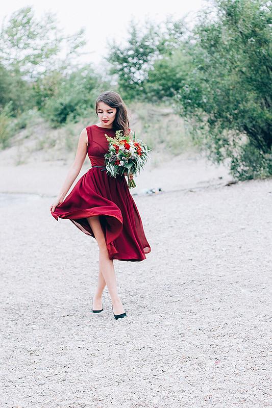 Платье цвета марсала от Мила-Полька