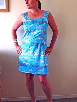 Работа с названием Летнее платье с акулами