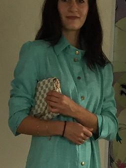 Работа с названием Платье- рубашка с расклешенным низом