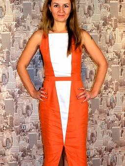 Работа с названием Комбинированное платье из льна