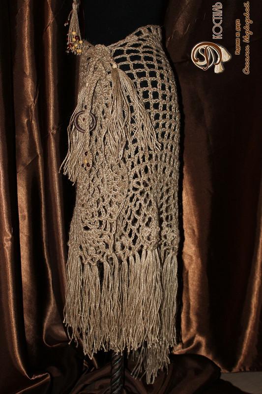 Шаль сетка -с кистями ипоясом  вязаные изджута ''Бохиня''