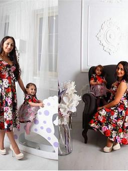 Работа с названием Платья для мамы и дочки
