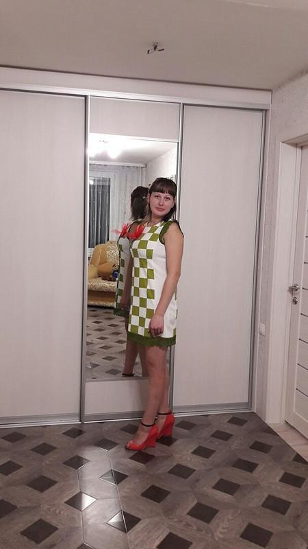 Платье вклетку ицветок