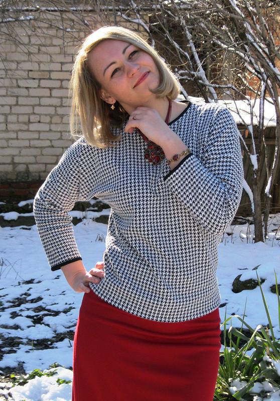 Пуловер «гусиная лапка»