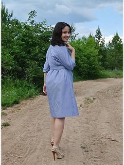 Работа с названием Платье-рубашка в полоску