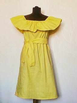 Работа с названием Лимонное платье с воланом