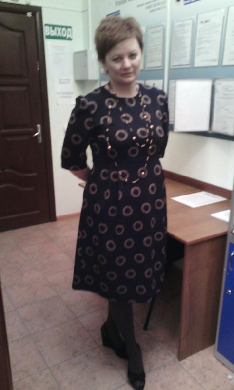 Платье синее в«кружок»