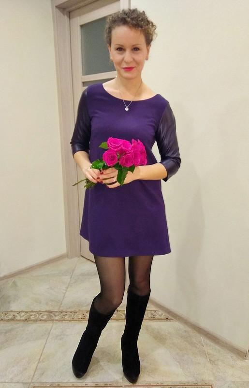 Фиолетовое платье А-силуэта