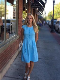 Работа с названием Платье голубое с завышенной талией