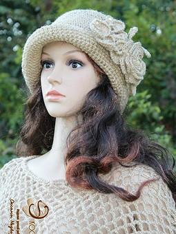 Работа с названием Шляпа клош ''Ольга''с брошью цветком из джута