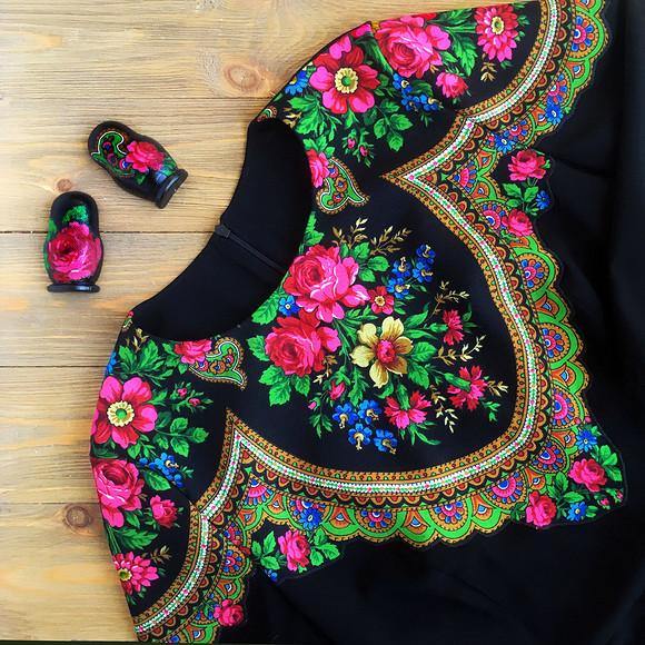 Декорируем платье русским платком: мастер-класс