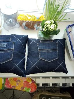 Работа с названием Подушки из старых джинсов