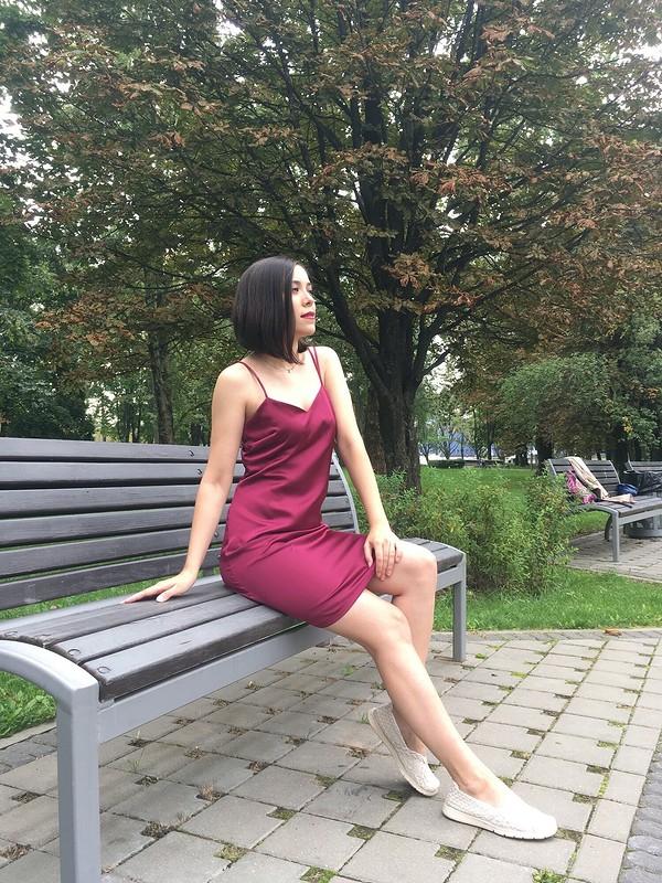 Пурпурное платье-комбинация