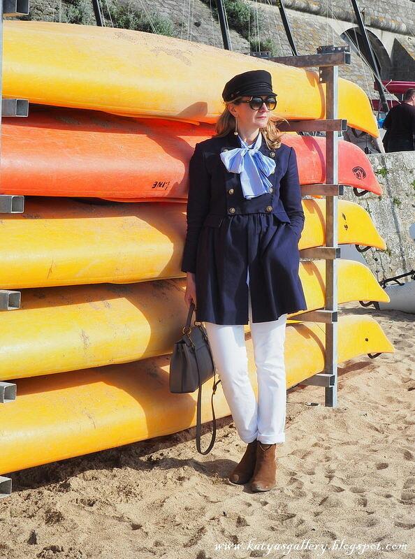 Nautical. Голубая блузка сбантом от bellifontaine
