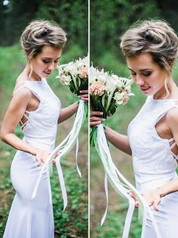Работа с названием Свадебное платье с открытой спиной