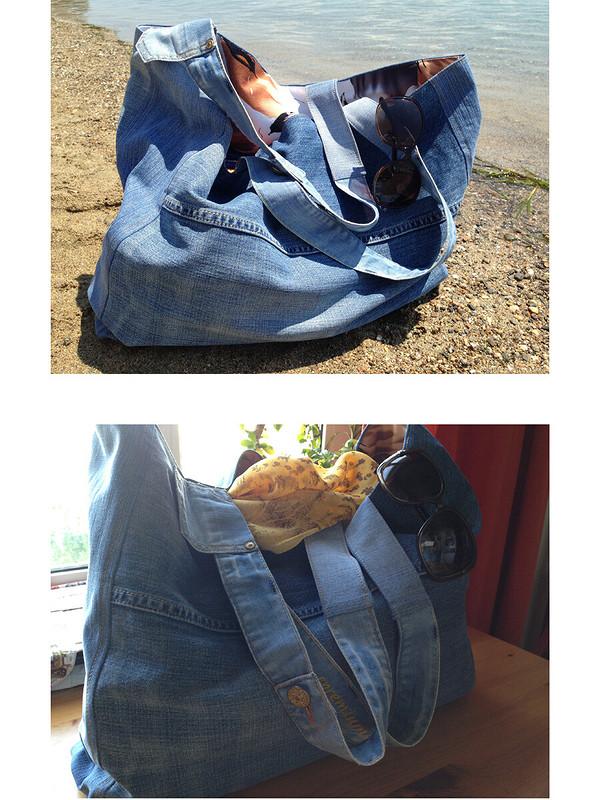 Пляжная сумка изстарых джинсов