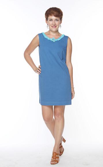 Как сшить синее платье избелого хлопка