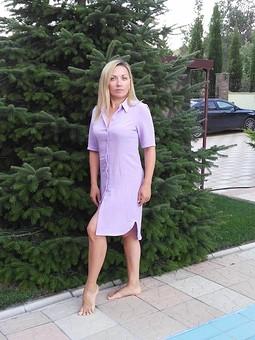 Работа с названием Платье-рубашка Сирень