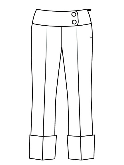 Как сшить укороченные брюки свысокими отворотами