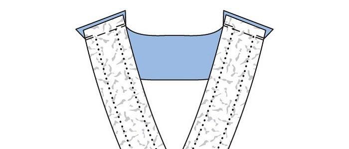 Обработка V-образной горловины визделиях излегкой ткани