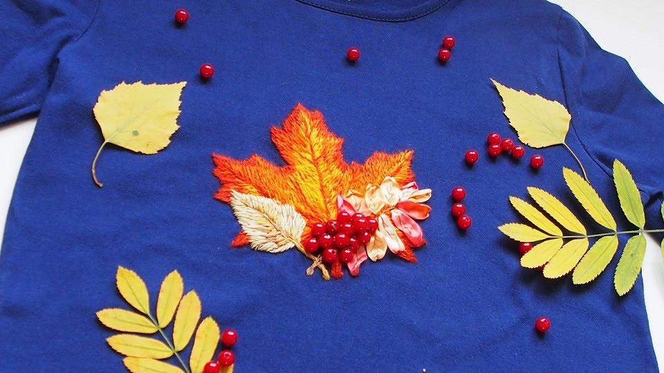 Как вышить осенний букет надетском пуловере