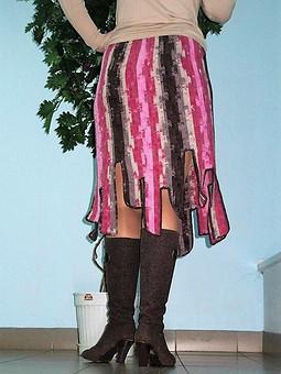 Работа с названием Зимняя экстравагантная юбка, выполненная крючком. Поперечное вязание.