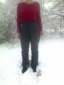 Работа с названием Утепленные брюки из плащевки