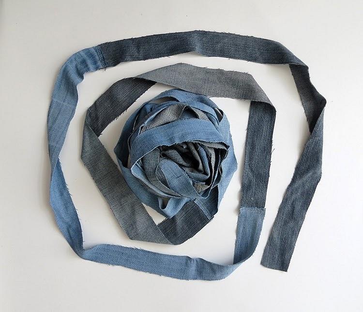 Плетёная корзина изстарых джинсов: мастер-класс