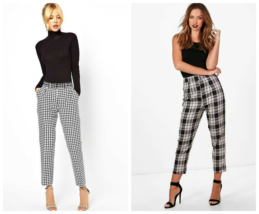С чем носить брюки вклетку: что надеть женщинам