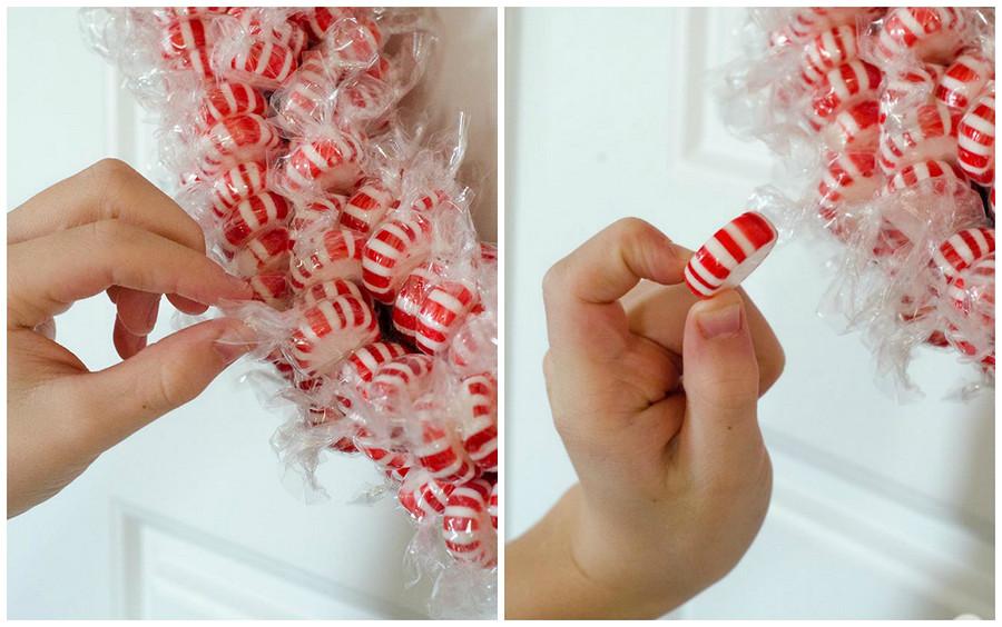 Как сделать новогодний венок изконфет