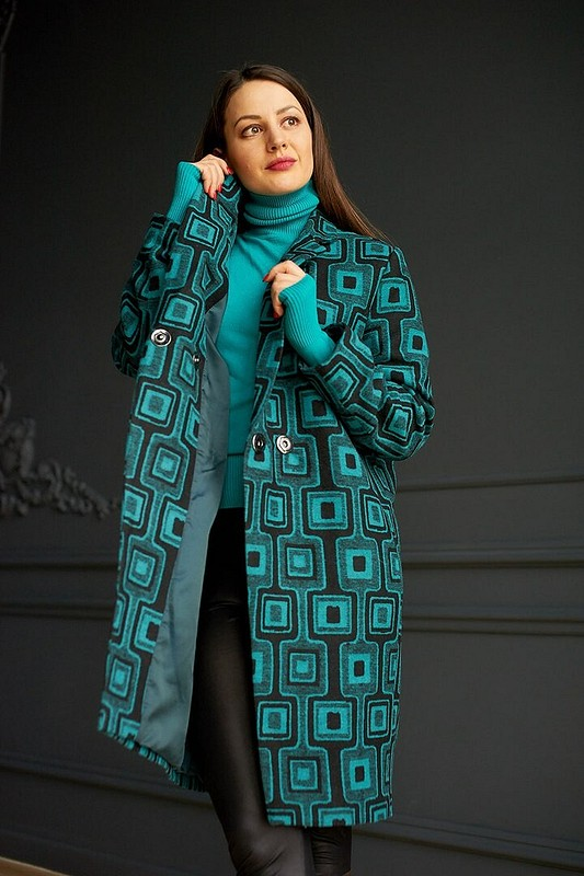 Пальто полуоверсайз Бирюзовая рапсодия от AlexandraMaiskaya