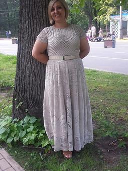 Работа с названием Платье на лето пряжа ''Ленок-2''